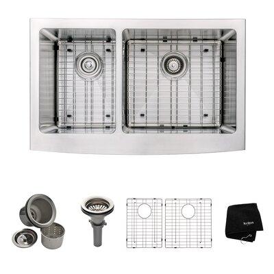 "32.9"" x 20.75"" 6 Piece Farmhouse 60/40 Double Bowl Kitchen Sink Set Product Photo"