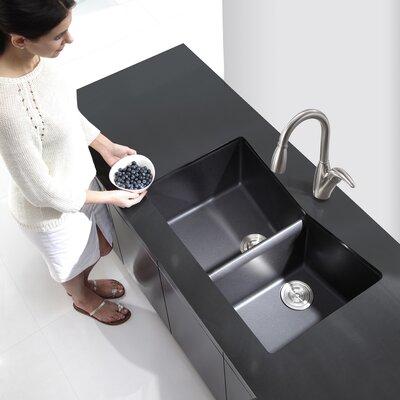 """Kraus 33"""" x 19.87"""" Undermount 60/40 Double Bowl Granite Kitchen Sink"""