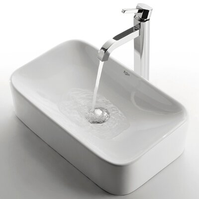 Ceramic Rectangular Bathroom Sink with Ramus Single Lever Faucet Product Photo