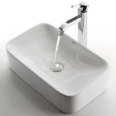 Ceramic Rectangular Bathroom Sink with Ramus Single Lever Faucet by Kraus