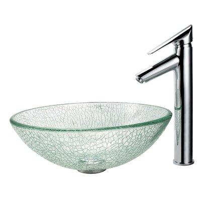 Kraus Broken Glass Vessel Sink and Decus Bathroom Faucet in Chrome