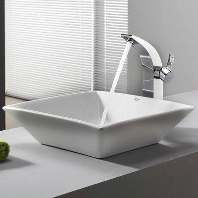 Kraus Bathroom Combos Bathroom Sink  with Single Handle Single Hole Waterfall Illusio Faucet