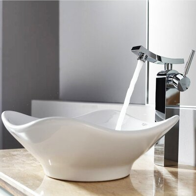 Kraus Bathroom Combos Tulip Ceramic Bathroom Sink with Single Handle ...