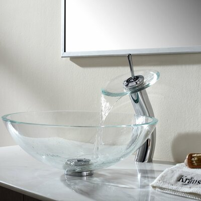 Crystal Clear Glass Vessel Sink and Waterfall Faucet Product Photo