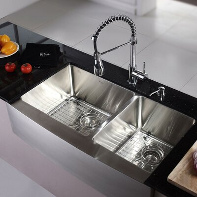 """Kitchen Combo 36"""" x 25.5"""" Double Bowl Stainless Steel Kitchen Sink with Faucet Product Photo"""