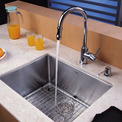 "23"" x 18"" Undermount Single Bowl Kitchen Sink with 10"" Faucet and Soap Dispenser Product Photo"
