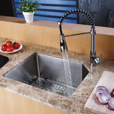 """Kraus 21"""" x 16.75"""" Undermount Kitchen Sink with Faucet and Soap Dispenser"""