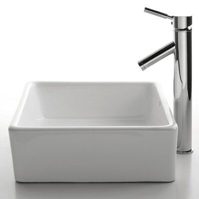 Ceramic Square Vessel Bathroom Sink & Sheven Faucet Product Photo