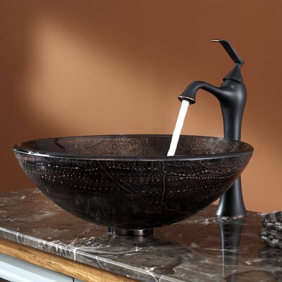 Copper Illusion Glass Vessel Sink and Ventus Faucet Product Photo