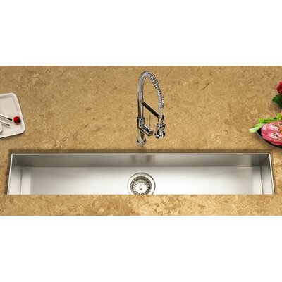 "Contempo 42"" x 8.5"" x 6"" Zero Radius Undermount Trough Bar Sink Product Photo"