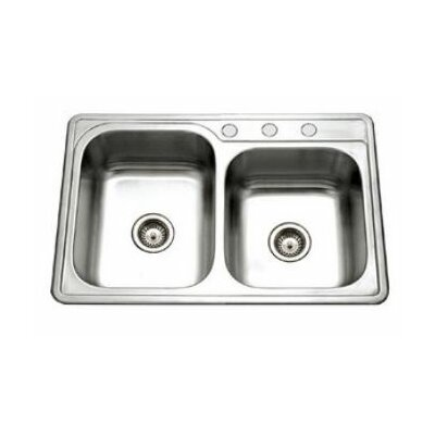 "Houzer Glowtone 33"" x 22"" Topmount 60/40 Double Bowl Kitchen Sink"