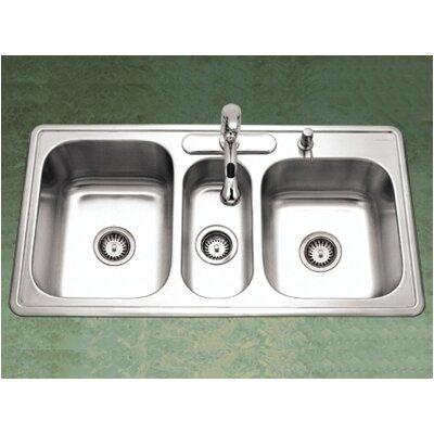 "Premiere Gourmet 41.31"" x 15.75 - 22"" Topmount Triple Bowl Kitchen Sink Product Photo"