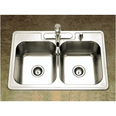 "Glowtone 33"" x 22"" Topmount Double Bowl 20 Gauge Kitchen Sink Product Photo"