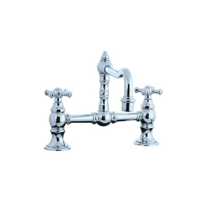 Highlands Double Handle Double Hole Bridge Faucet with Cross handle and Swivel Spout Product Photo