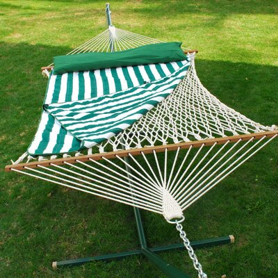Cotton Rope Hammock with Hanging Hardware, Hammock Pad and Coordinating Pillow by Algoma Net ...