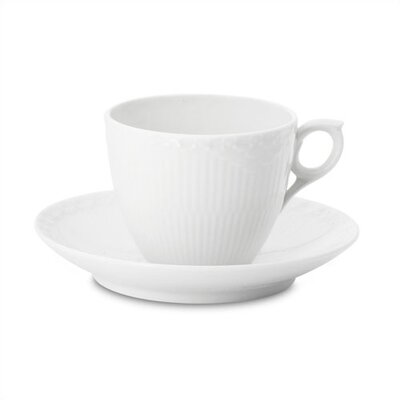 Royal Copenhagen White Half Lace 5.75 oz. Coffee Cup and Saucer