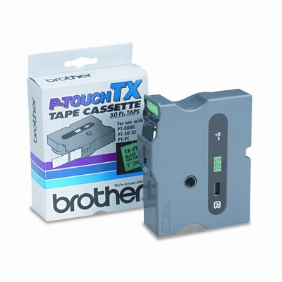 Brother TX7511 P-Touch® TAPE CARTRIDGE FOR PT-8000, PT-PC, PT-30/35, 1W, BLACK ON GREEN