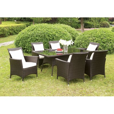Hudson 7 Piece Dining Set with Cushions by Hokku Designs