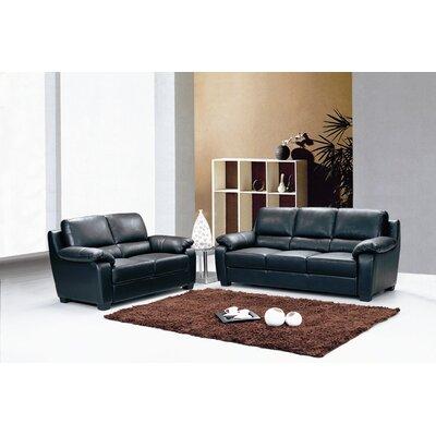 Two Piece Top Grain Leather Sofa Set by Hokku Designs