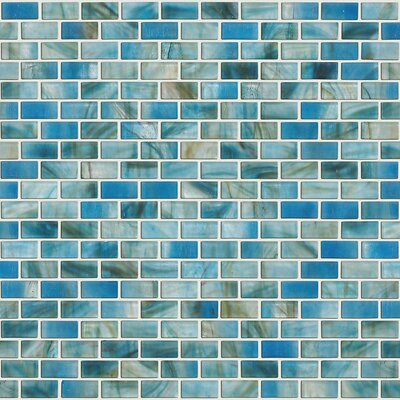 "Shaw Floors Glass Expressions 0.25"" x 1"" Glass Mosaic Tile in Azure"