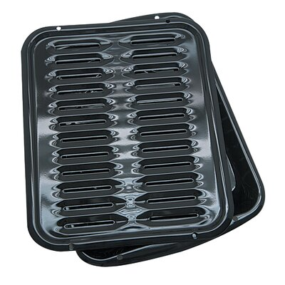 2 Piece Porcelain Broiler Pan with Grill Set by Range Kleen