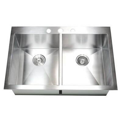 """33"""" x 22"""" Double Bowl Kitchen Sink Product Photo"""