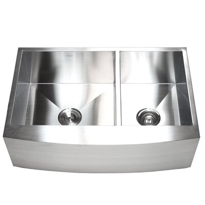 "Ariel 33"" x 22"" Stainless Steel 60/40 Double Bowl Farmhouse Kitchen Sink Product Photo"