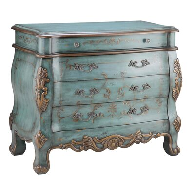 Painted Treasures 4 Drawer Bombe' Chest by Stein World