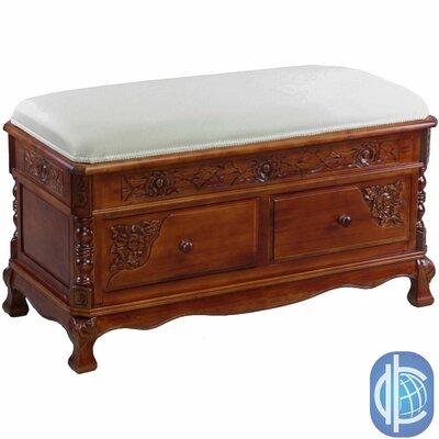Windsor Hand Carved Wood Storage Bench by International Caravan
