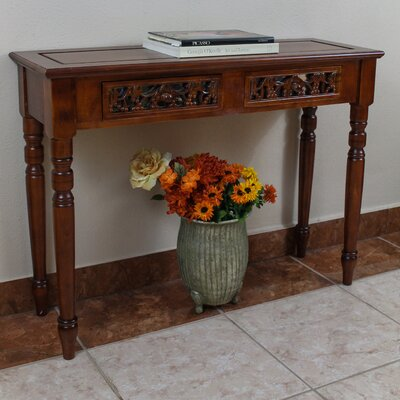 Windsor Hand Carved Wood 2-Drawer Indoor Console Table by International Caravan