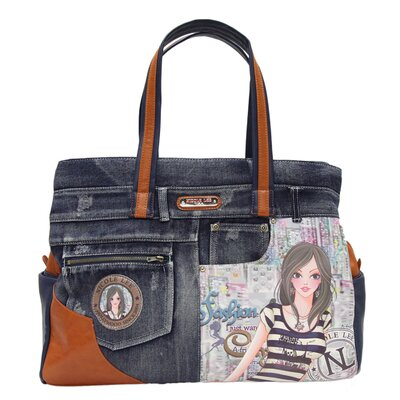 Doll House Denim Print Overnight Tote by Nicole Lee