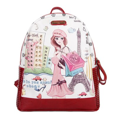Shopping Girl Print Fashion Backpack by Nicole Lee
