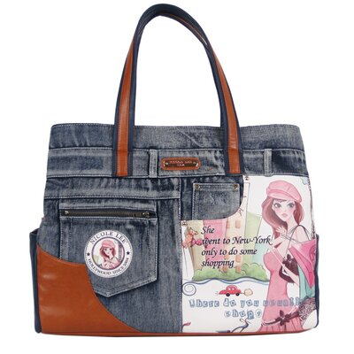 Shopping Girl Denim Print Overnight Tote by Nicole Lee