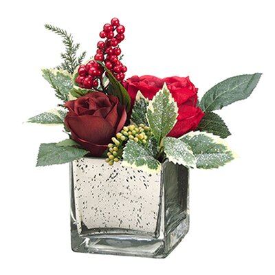 Rose, Berry and Pine in Glass Vase by Dalmarko Designs