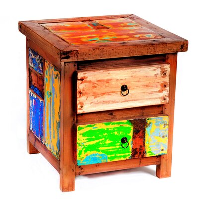 Go Fish Reclaimed Wood Side Table by EcoChic Lifestyles
