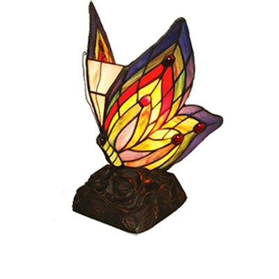 river of goods stained glass butterfly wings accent 9 5 h table lamp. Black Bedroom Furniture Sets. Home Design Ideas