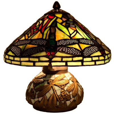 river of goods dragonfly tiffany style stained glass 10 h table lamp. Black Bedroom Furniture Sets. Home Design Ideas
