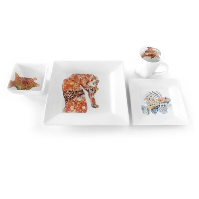 Seahorse 4 Piece Place Setting by Kim Rody Creations