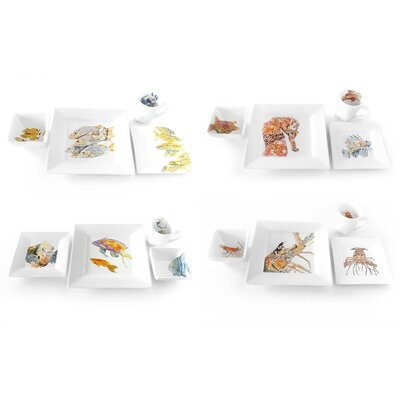 Sea Creature Caboodle 16 Piece Place Setting by Kim Rody Creations