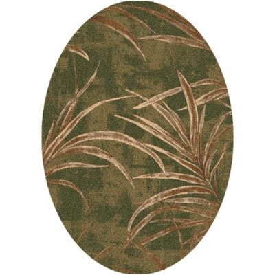Pastiche Rain Forest Deep Olive Oval Rug by Milliken