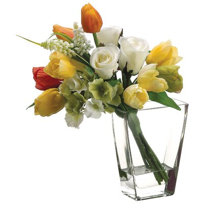 Rose, Hydrangea and Tulip Bouquet in Glass Vase by Silk Flower Depot