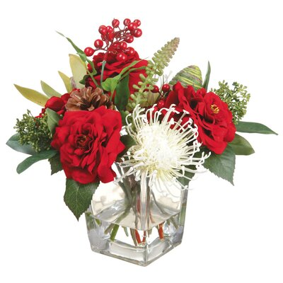 Rose/Protea/Skimmia in Glass Vase by Silk Flower Depot