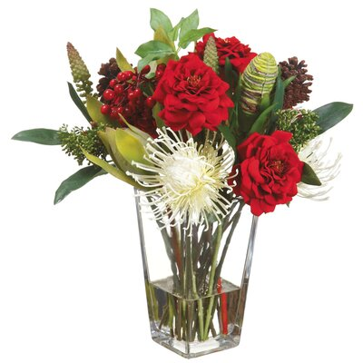 Rose/Protea/Berry/Skimmia in Glass Vase by Silk Flower Depot