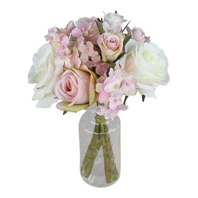 Mix Rose in Glass Vase by Silk Flower Depot