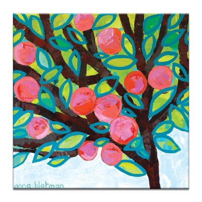 Red Apple by Anna Blatman Painting Print on Wrapped Canvas by Artist Lane