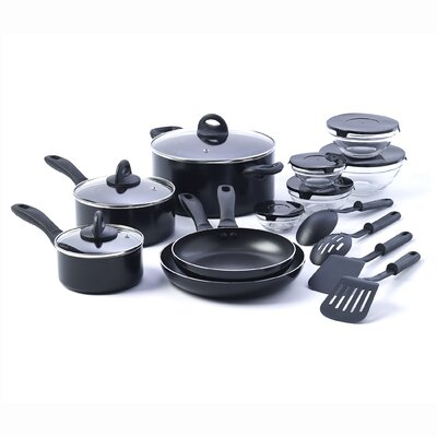 17 Piece Non-Stick Kitchen Starter Cookware Set by Basic Essentials
