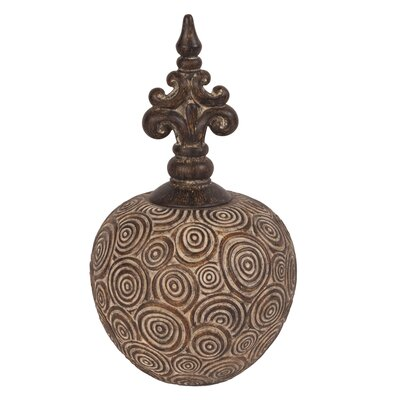 Classic Antique Scrolled Small with Bronze Fleur Di Lis Top Vase by Howard Elliott