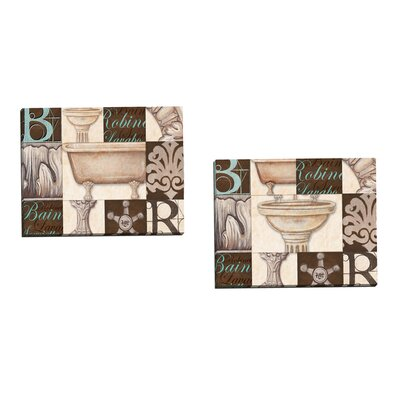 Bath Bain Aqua Sink by Charlene Audrey 2 Piece Graphic Art on Wrapped Canvas Set ...