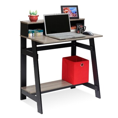 Zipcode ZIPC3165 Annie Computer Desk with Built-in Hutch - French Oak Grey / Espresso