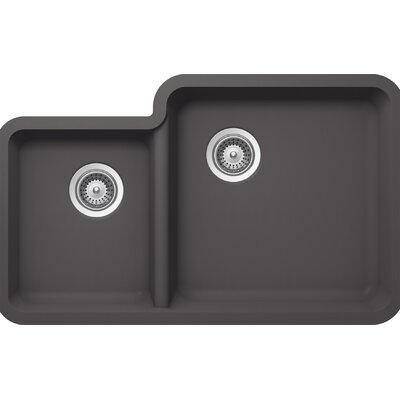 "Solido 33"" x 20.75"" Cristalite 70/30 Undermount Double Bowl Kitchen Sink Product Photo"